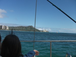 View of Diamond Head from the Maitai Catamaran.