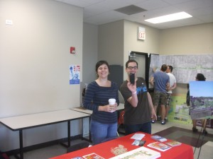 Jamie, left, at a June 21, 2014, open house for the Bloomingdale Trail project at the Tribune-McCormick YMCA in Chicago.