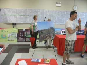 Numerous maps and posters at the open house help explain both the vision and progress of The 606 Project.