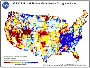 NASA-generated groundwater drought map from the NIDIS website (https://www.drought.gov).
