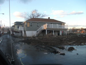 Flood damage on Staten Island from Hurricane Sandy in 2012.