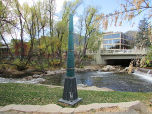 This memorial to Gilbert White, the pioneer of modern floodplain management, marks the high point of flooding along Boulder Creek.